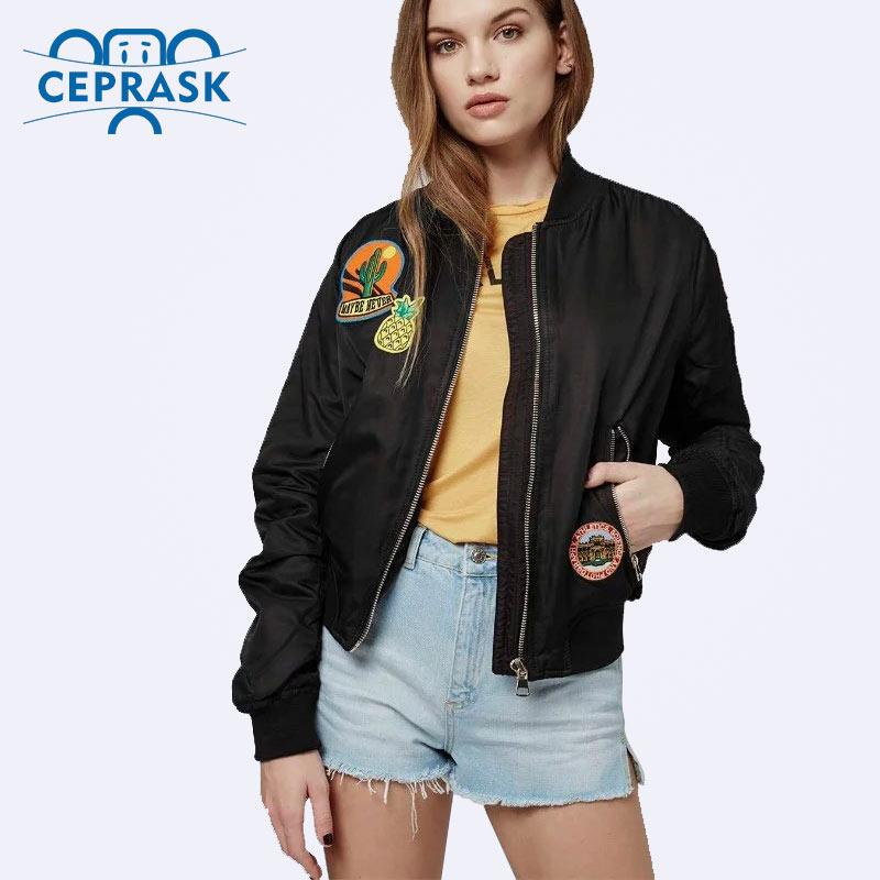 Ceprask mujeres bomber jacket  capa femenina traje de vuelo jacket women coat y