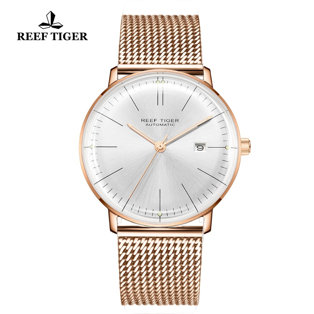 Reef Tiger/RT Top Brand Luxury Watch Mens Rose Gold Ultra Thin Automatic Mechanical Watches Calendar Waterproof RGA8215Reef Tiger/RT Top Brand Luxury Watch Mens Rose Gold Ultra Thin Automatic Mechanical Watches Calendar Waterproof RGA8215