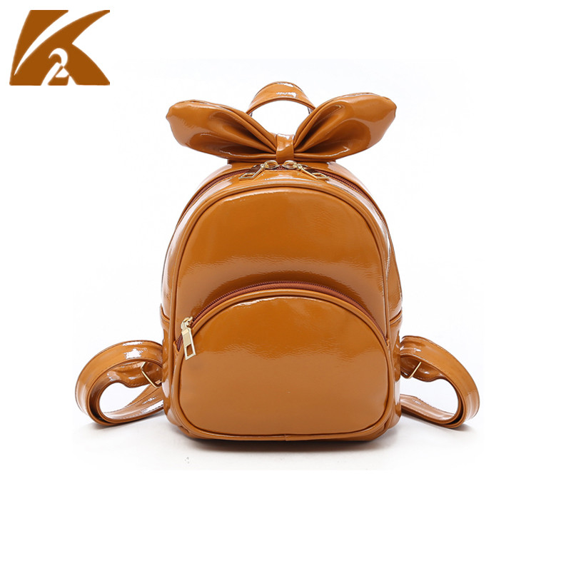 2018 New Fashion Leather Backpack Women White Brown Backpacks Pink Bowknot School Bags for Teenage Girls Back Pack Mochila Mujer