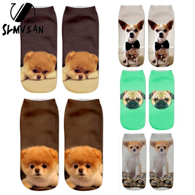 SLMVIAN 1Pair 3D Printed Socks Women New Cute Low Cut Ankle Funny Sock New Fashion Women's Casual Cute Animal Socks