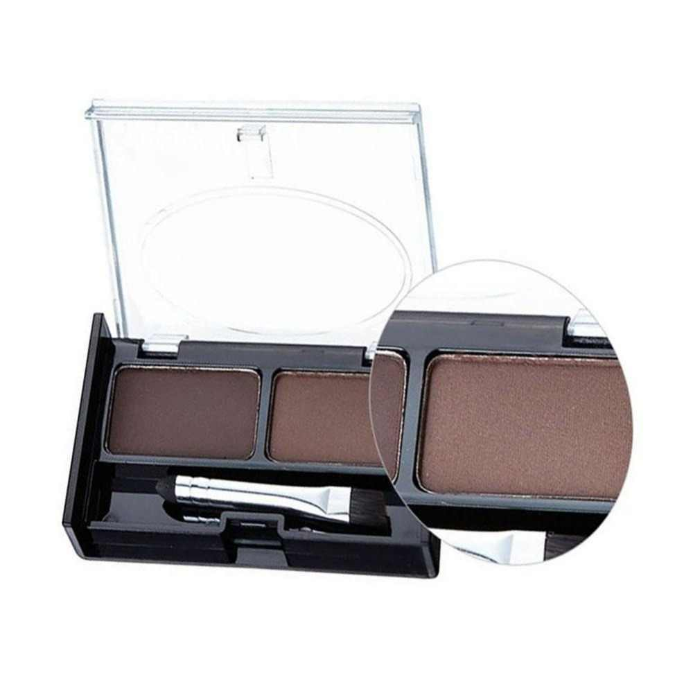 Profesional Alis Makeup 2 Warna Shadow Alis Bubuk dengan Sikat Brow Dark Brown Make Up Palet Set Kit baru