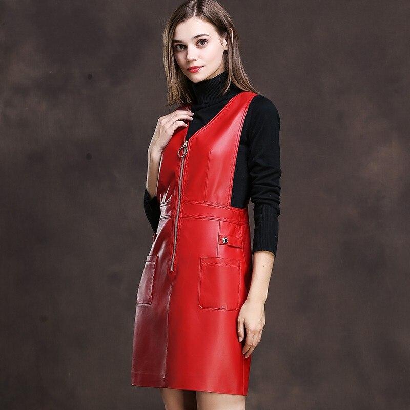 2019 primavera mujeres negro rojo piel de oveja cuero genuino correas Vestidos sin mangas una línea Mini vestido de sol cremallera Rock Fiesta Vestidos-in Vestidos from Ropa de mujer    2
