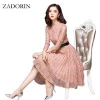 2016 New Style Women Crochet Floral Long Sleeve Vintage Lace Midi Dress Elegant Casual Office Dress