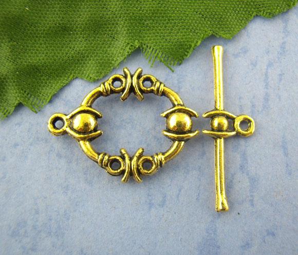 Zinc Metal Alloy Toggle Clasps Oval Gold Tone Pattern Pattern 25mm X8mm(1