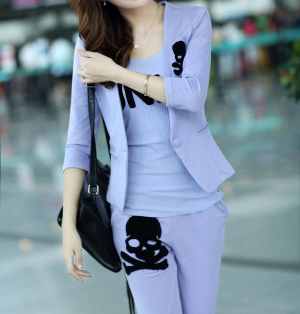 Conjuntos de roupas novas mulheres crânio impresso das mulheres mulheres terno de 3 peças set moda feminina camisola hoodies + calças + colete G0534