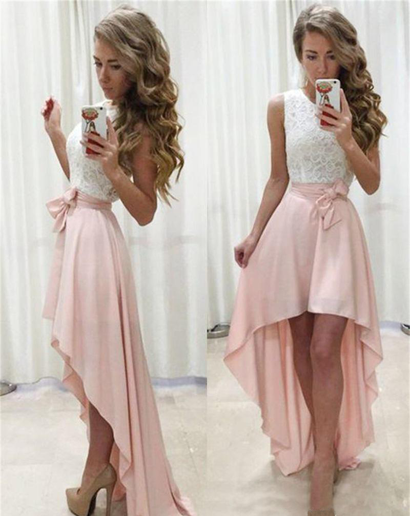 Bridesmaid Dresses 2019 High Low Formal Evenin Dress Prom Gowns Front Short Long Back Party Homecoming Party Gowns
