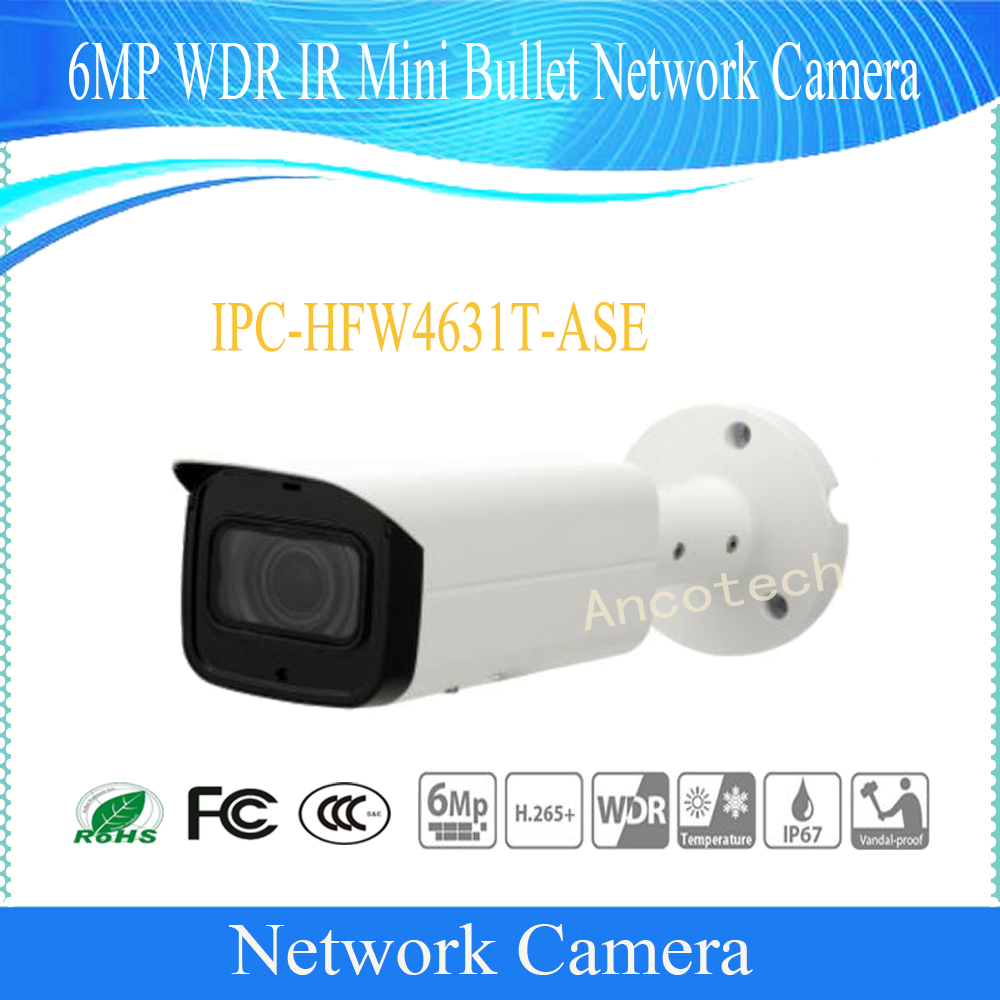 Free Shipping DAHUA Surveillance CCTV Camera 6MP WDR IR Mini Bullet Network Camera IP67 With POE Without Logo IPC-HFW4631T-ASE bullet camera tube camera headset holder with varied size in diameter