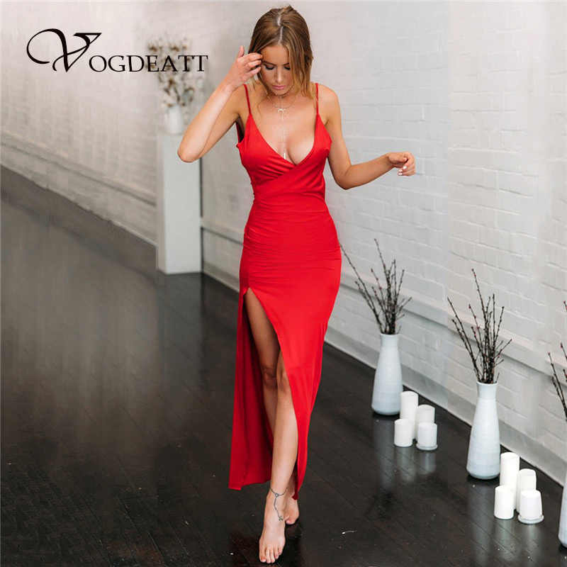 55d49912450 Sexy Deep V Spaghetti Strap 2018 Hot Evening Party Dress Full Length Side  Split Sleeveless Backless