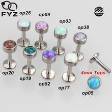 מעורב 9 צבע אופל G23 טיטניום Labret הפנימי הברגה 16 גרם אוזן ליפ תכשיטי Stud פירסינג סחוס Tragus הסליל