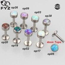 Karışık 9 Renk Opal G23 Titanyum Dahili Dişli 16G Labret Dudak Kulak Kıkırdak Helix Tragus Damızlık Body Piercing Takı