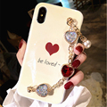 For iPhone 6 6s 7 8 plus X Samsung Galaxy s7 edge s8 s9 plus note 8 9 Red heart Be Loved diamond Bracelet soft phone case cover