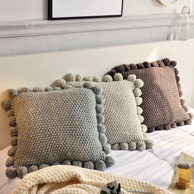 Knitted Cushion Cover Solid Gray Coffee Solid Nordic Style Pillow Case With Balls 45*45cm Soft For Sofa Bed Room Home Decorative