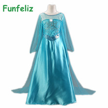 Snow Queen Elsa Dress Girls Party Dress robe fille 2015 Summer Dress for Girl princess costume robe enfant Girls Dresses