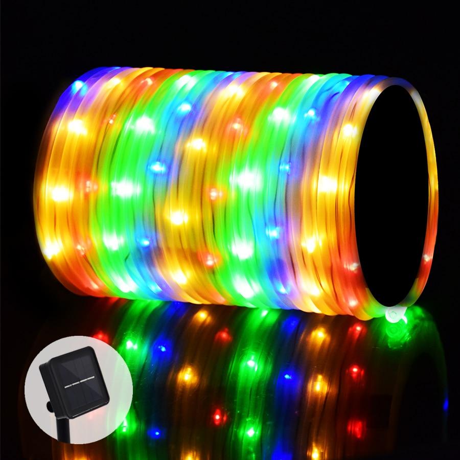 10 m 100 LED Solaire Cordes Guirlandes Prime Qualité Solaire Corde Tube Led String Bande Extérieure Jardin Xmas Party décor Éclairage