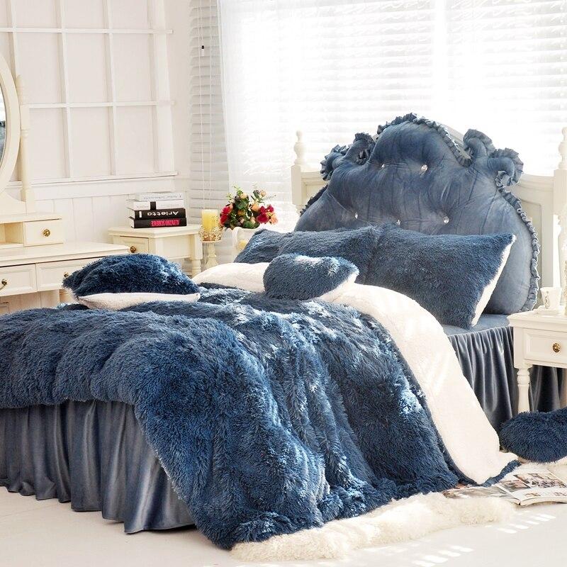 Adults Children Bed Quilt Cover Set Thick Fleece Winter Bedding Set Twin Queen King Size Bed Set Duvet Cover Bed Skirt Pillowcas