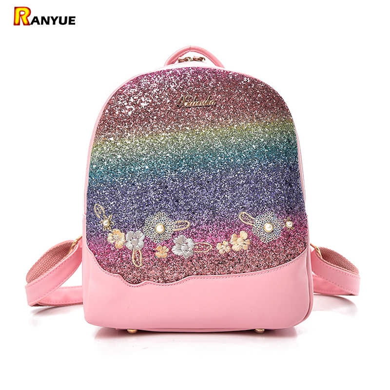 Bling Glitter Shining Color Sequins Backpack Women Backpack Floral  Embroidery Pu Leather Backpacks Girls Small Travel 5eef44b4f5704