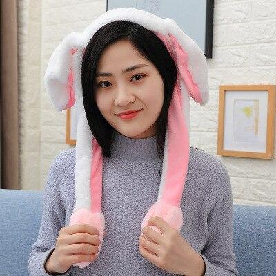 Новинка, Мультяшные шапки с подвижными ушками, милый Игрушечный Кролик, шапка с подушкой безопасности, Kawaii, забавная шапка для девочек, детская плюшевая игрушка, рождественский подарок - Цвет: Headband