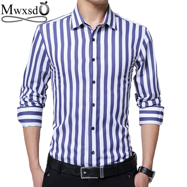 Mwxsd brand Men s Causal Striped Shirt men Long Sleeve Business Formal  Shirts Male Dress Shirts camisa 4352ff0c8