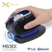 Delux M618X z regulowanym kątem bezprzewodowa mysz pionowa Bluetooth 3.0 4.0 + 2.4GHz ergonomiczne akumulatory do 4 urządzeń z systemem Windows