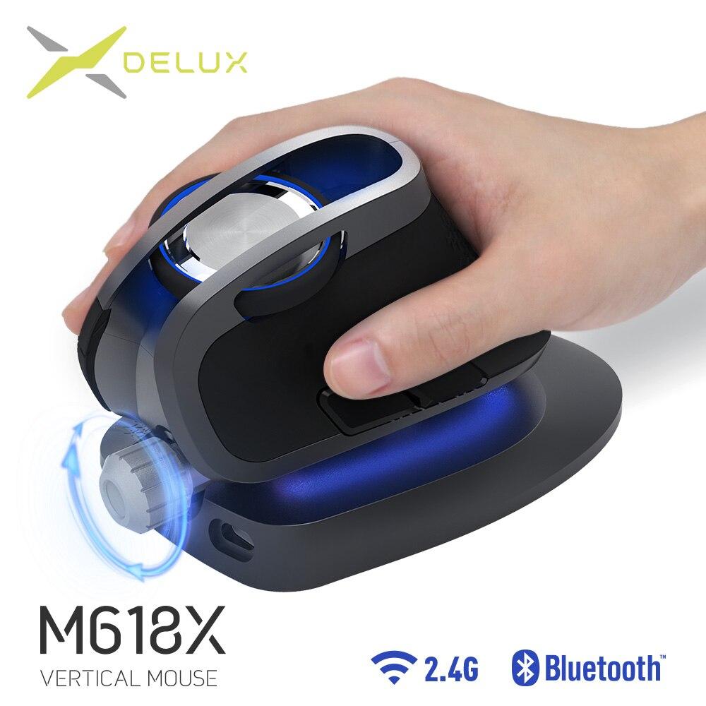 Souris verticale sans fil à angle réglable Delux M618X Bluetooth 3.0 4.0 + 2.4 GHz souris Rechargeable ergonomique pour appareils 4 fenêtres