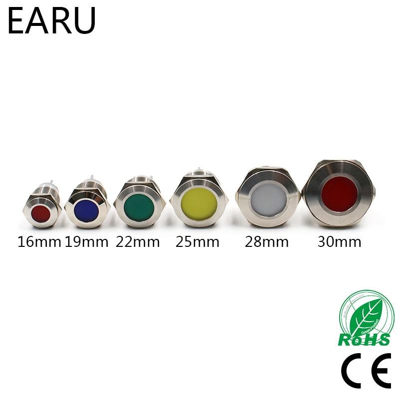 16mm 19mm 22mm 25mm 28mm 30mm impermeable IP67 indicador LED de metal señal piloto luz de la lámpara de advertencia 5V 12V 24V 110V 220V rojo azul