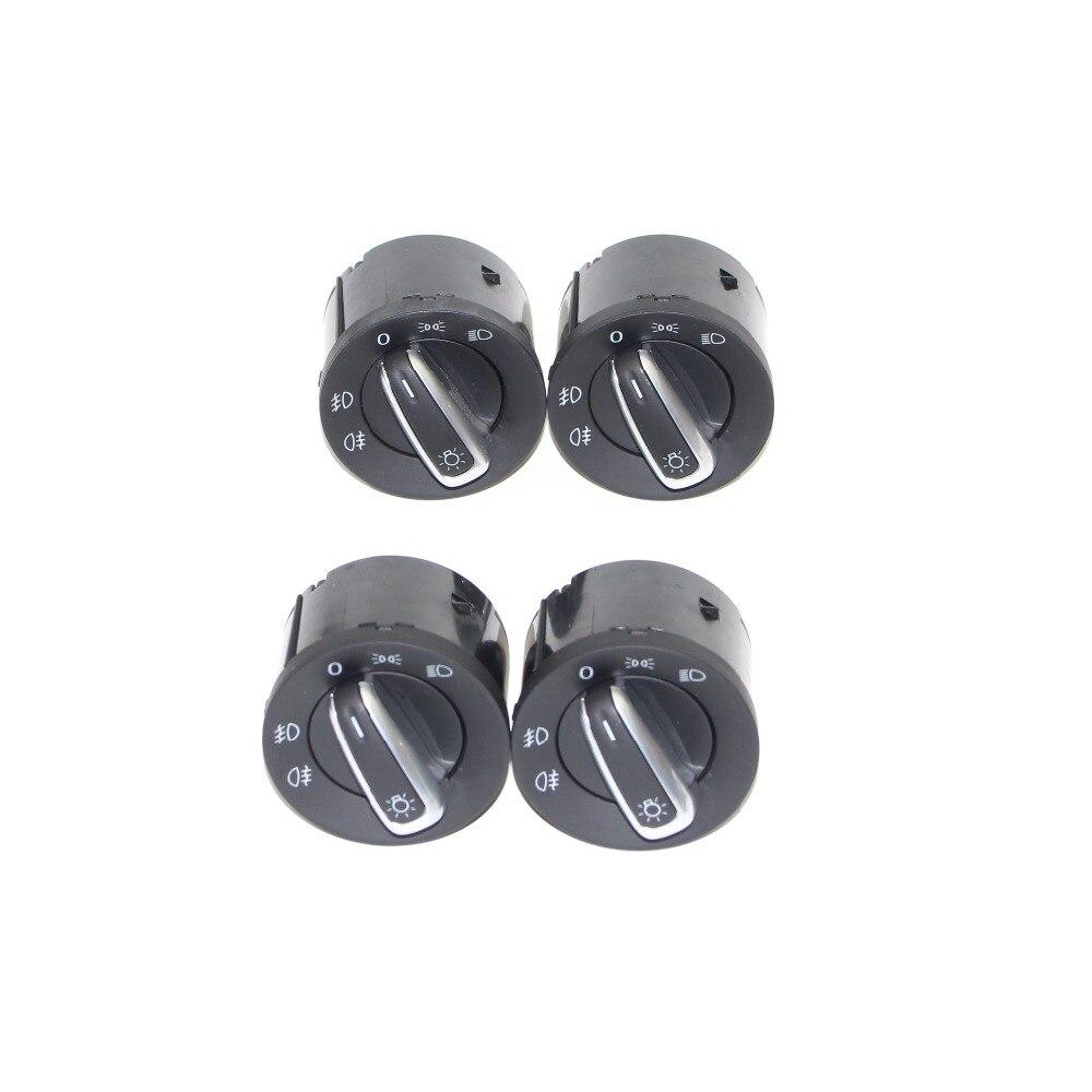 4 pièces Chrome interrupteur de commande de lumière de phare pour VW Caddy Tiguan Touran Golf MK6 Jetta VW Passat B6 3C 5ND 941 431 A 5ND941431A