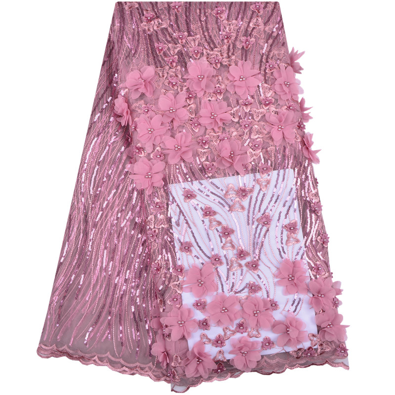 French Lace Fabric Pink Wedding High Quality African Tulle Lace Fabric 5Yards Lot 3 d Flowers