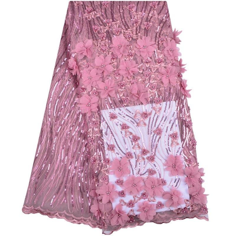 Francese Tessuto di Pizzo Rosa di Cerimonia Nuziale di Alta Qualità di Tulle Africano Tessuto di Pizzo 5 Yards/Lot 3 d Fiori Ricamato In Tulle pizzo FabricA1232-in Pizzo da Casa e giardino su  Gruppo 1