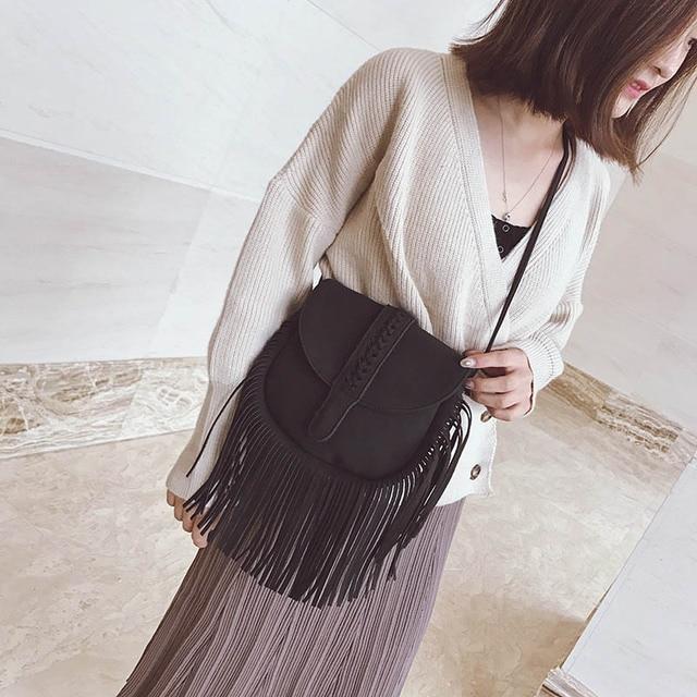 New Bohemian Bag Women Fringe Tassel Flap Bag Vintage Lady Girl Woman Shoulder Cross body Bags Handbag Purse Faux Leather Suede
