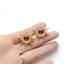 Free Shipping Red Sweet Spike Gold Earring