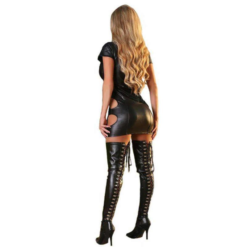 Sexy Wetlook Faux Leder Kleid Exotische Kurzarm Öffnen Bust Aushöhlen Robe Sexy Bandage Club Erotique Pole Dance Fetisch kleid