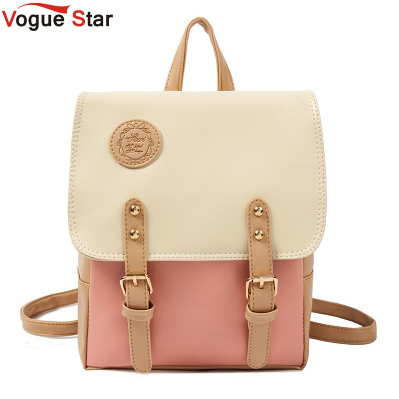 Vogue Star Hot New 2018 Fashion Contrast Color Leather Backpack Women Backpacks Sweet Beautiful Gril'S School Bag YK40-384 цена 2017