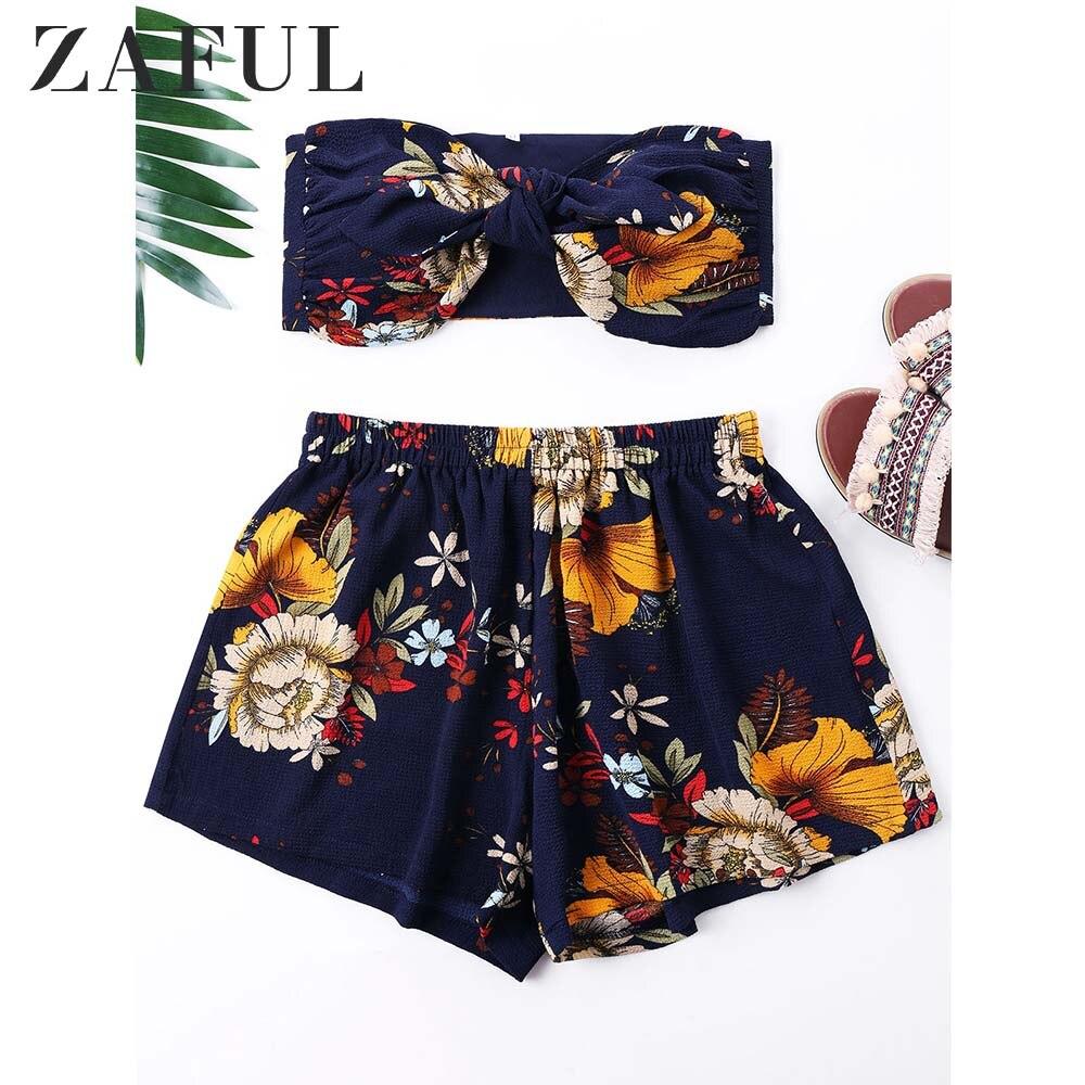 ZAFUL Flower Printed Mini Tube Top Shorts 2019 Summer 2 Pieces Women Sets Boho Beach Girls Strapless Crop Top Low Waist Shorts
