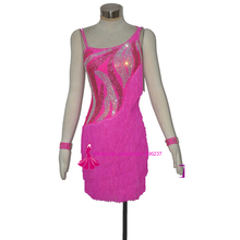 Latin Fringe Skirt High Quality Customized Rumba Tango Samba Dancing Costume Women Pink Latin Competition Dance Dress