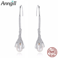 ANNGILL Unique Six Claw 925 Sterling Silver Long Drop Earrings Natural Freshwater Pearl Party Wedding Dangle Earring Jewelry