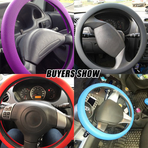 Image 5 - Leather Texture Car Auto Silicone Steering Wheel Glove Cover Soft Multi Color Universal Skin Soft Silicon Steering Wheel Cover
