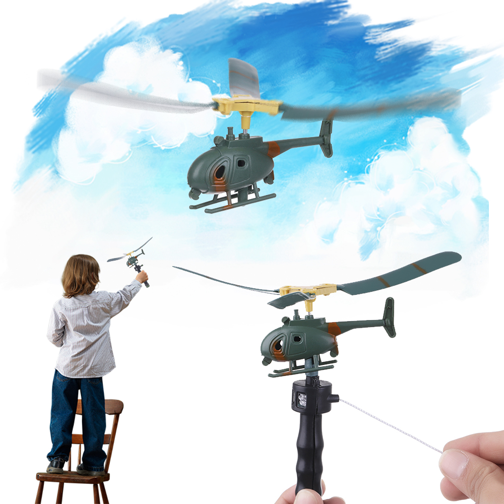 Aviation Model Copter Kids Toys Handle Pull Helicopter Plane Outdoor Toys For Children Aircraft Playing Drone Gifts For Beginner