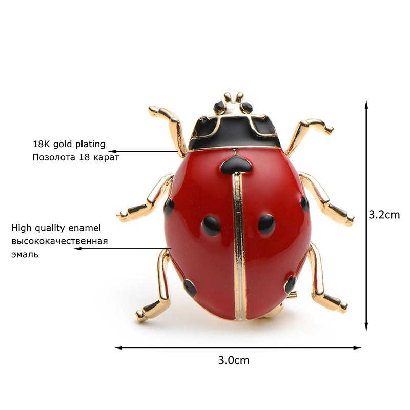 Alloy Red And Black Enamel Beetle Ladybug Brooch High Quality Men And Women  Suits Sweater Hat Insect Brooches Pins Scarf Buckles