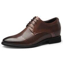 cbeb396ddc Marca Novo Verão Oco Sapatos de Couro Formais dos homens Vestido de  Casamento Calçado Altura Crescente 6.5 CM com Elevado Elevad.