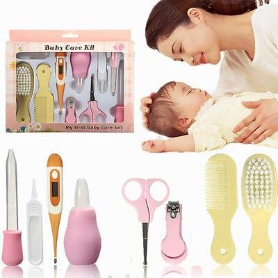 8 יחידות יילוד תינוק ציפורניים שיער בריאות קומבס מברשת גוף מדחום טיפוח ערכת סט מתנות מעודן בטיחות ניקוי טיפול סט