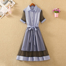 Summer Dress Women Mesh Short Sleeve Casual Fashion Clothes Waist Is Thin A-line Robe Femme Ete Vestidos Verano 2018 New(China)