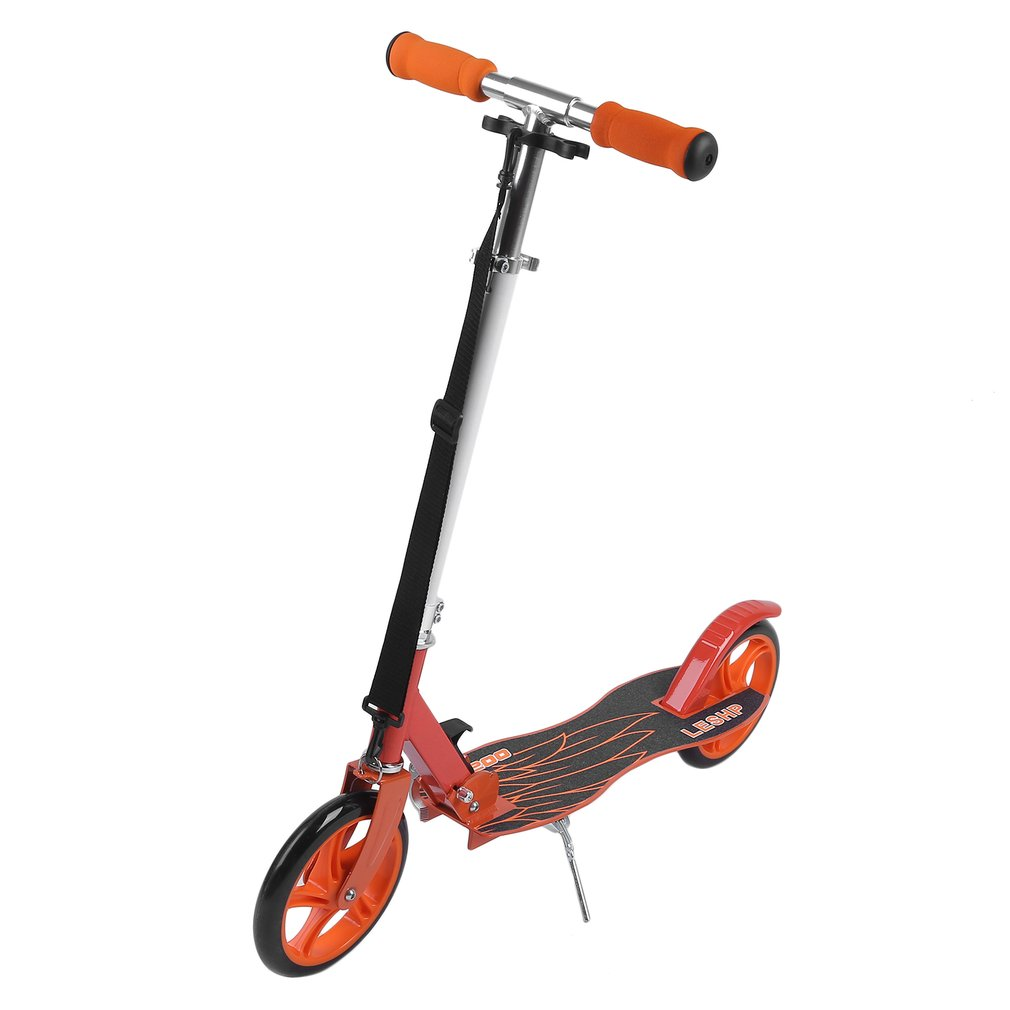 LESHP 200MM Folding Height Adjustable Foot Scooter Two Wheels Outdoor Double Damping Push Adult Kick Scooter Ship from RUS children 3 flashing wheels scooter lightweight outdoor play kids foot twister swing car tricycle ride scooter best gift