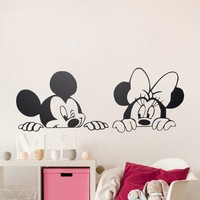 Cartoon Mickey Minnie Mouse Vinyl Wall Stickers Removable Nursery Wall Art Free Ship