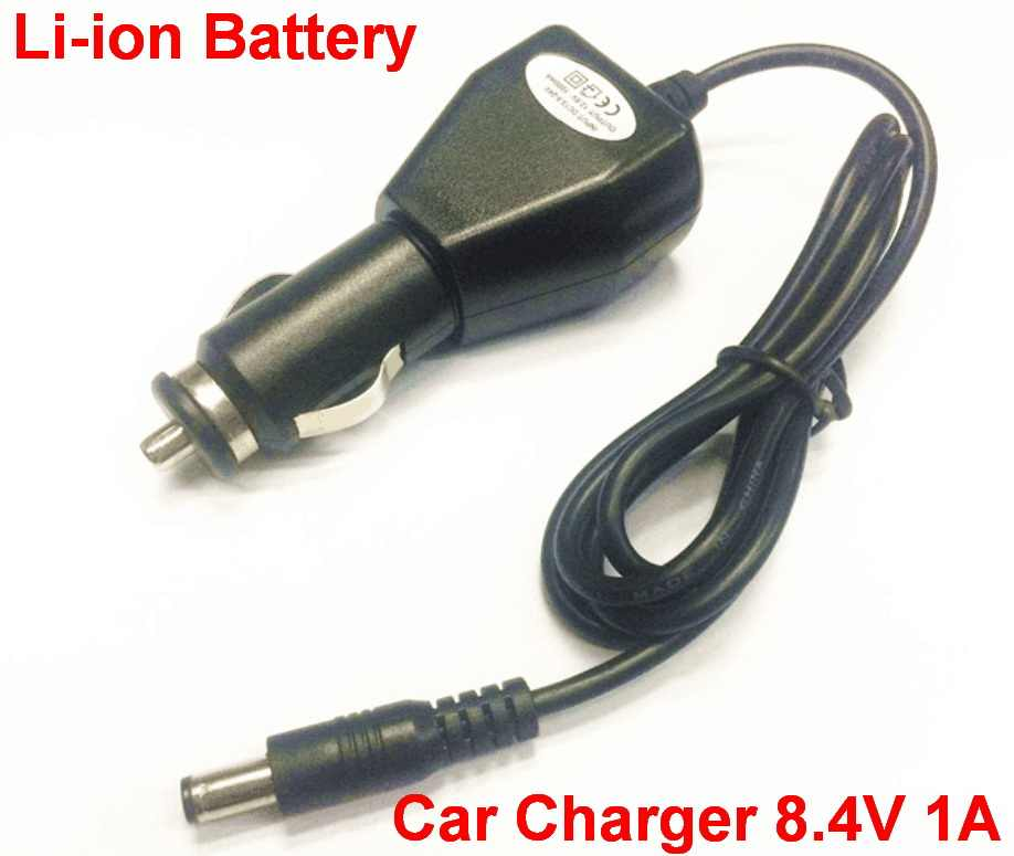 1 pcs 8.4 V 1A Universele Power Adapter car Charger 8.4 V 1A voor 18650 batterij DC plug
