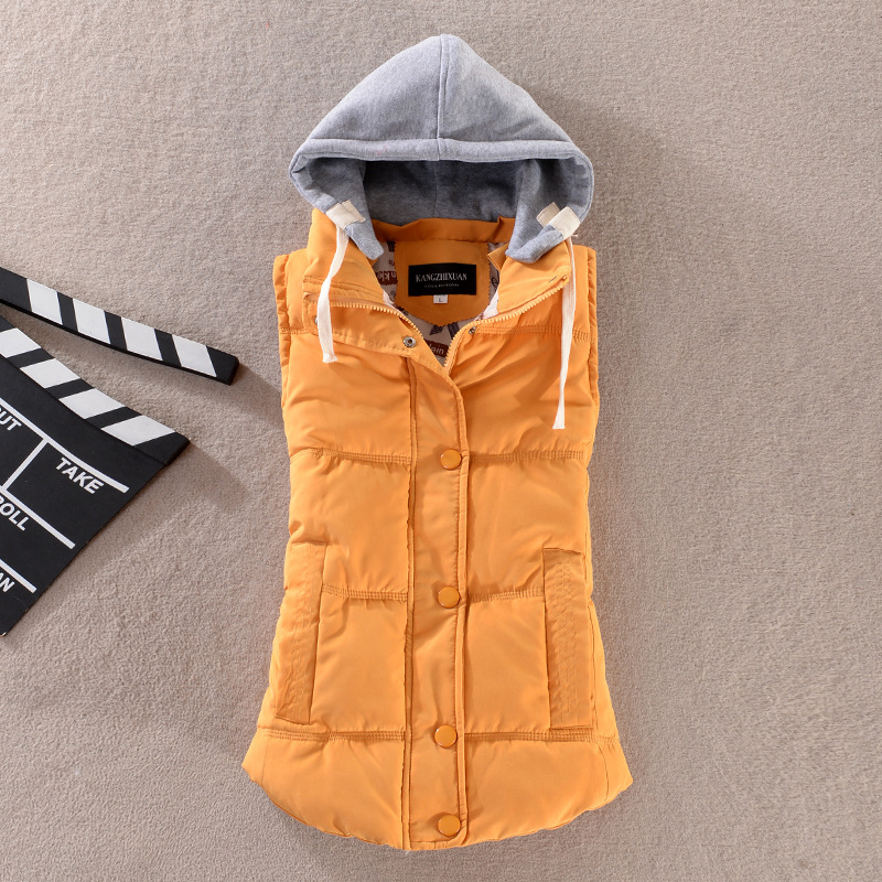 Plus Size 6XL Women Vest Winter Coat  Ladies Gilet Colete Feminino Casual Pocket Hooded Waistcoat Female Sleeveless Jacket