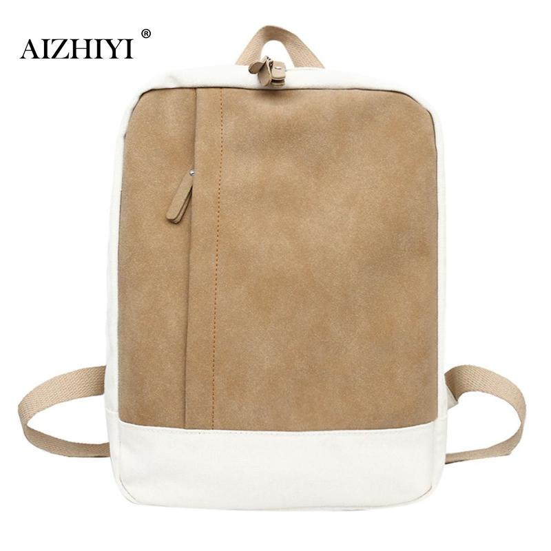 Simple Designer Women Canvas Backpack Patchwork Color Students School Bag for Teenage Girls Boys Backpacks Travel Shoulder Bag canvas backpack women for teenage boys school backpack male