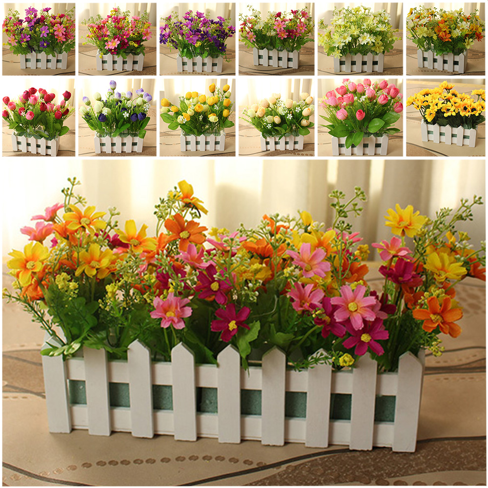 Hot sale white wood fence with small daisy artificial flowers set hot sale white wood fence with small daisy artificial flowers set for home party table wedding shop living room decoration white in artificial dried izmirmasajfo Images