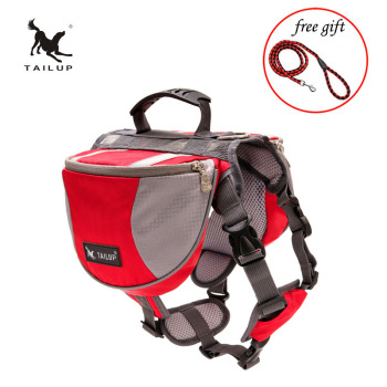 TAILUP Polyester Pet Dog Saddlebags Pack Hound Travel Camping Hiking Backpack Saddle Bag for Small Medium Large Dogs Free Gift