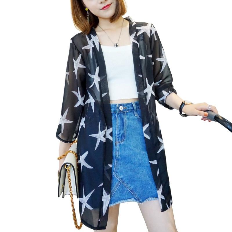 HTB15ySIKeOSBuNjy0Fdq6zDnVXab - Blusas Mujer De Moda  New Women Summer Chiffon Blouse Pinted Casual Kimono Cardigan Long Blouses Sunscreen Tops Plus Size