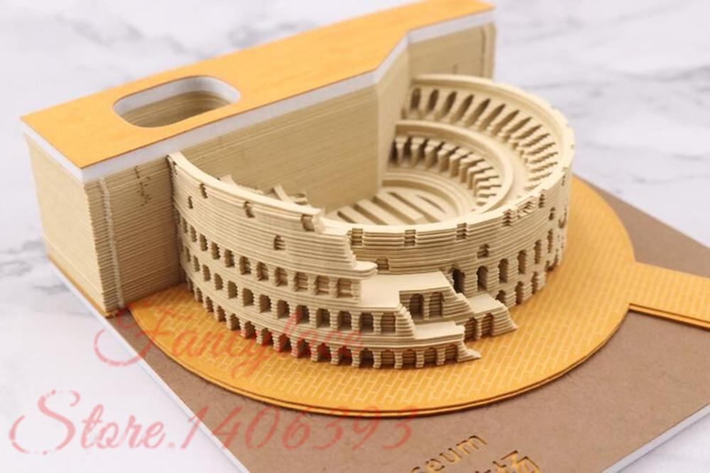 Art Building Block DIY 3D Rome Colosseo Memo Notes Pads Convenience Stickers Papers Card Art Crafts